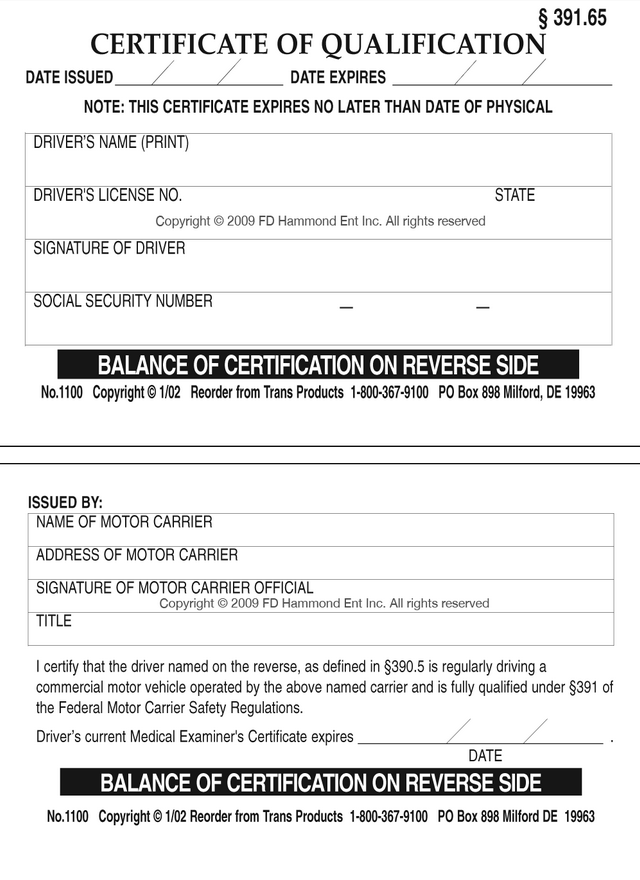 Certificate of qualification no 1100 for Motor carrier certificate of registration