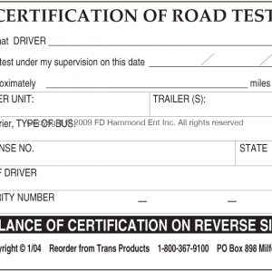 Certification of Road Test front of certificate