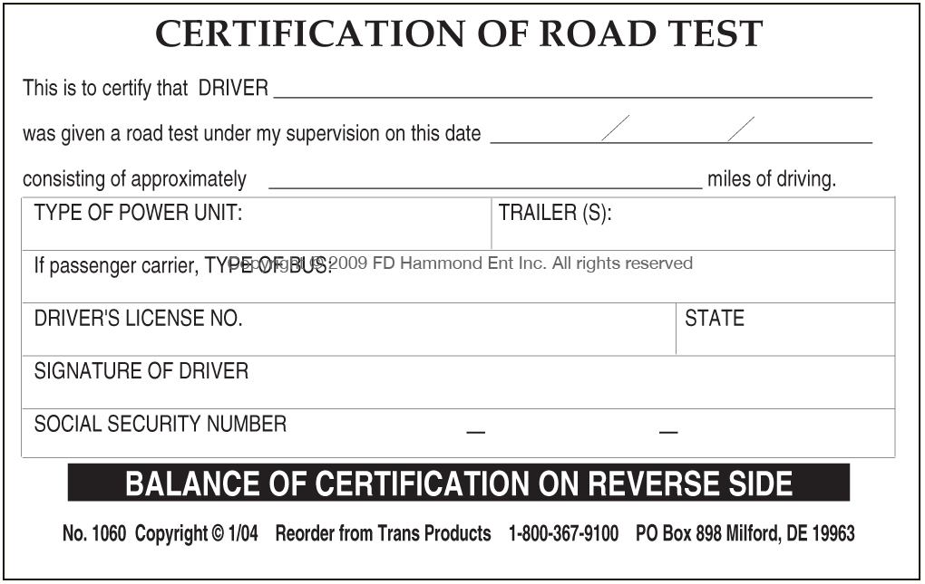 Certification of Road Test – No. 1060