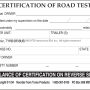 Certification of Road Test second side