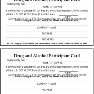 Double Sided Drug & Alcohol Participant Card