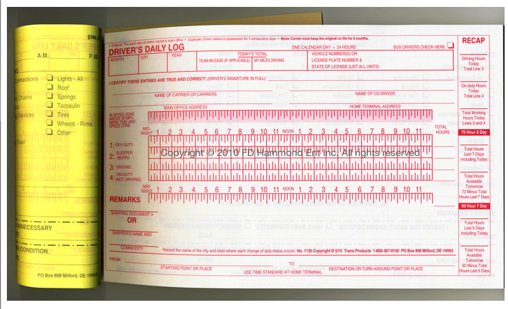 driver s daily log book carbon furnished with inspection report
