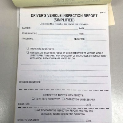 Driver's Vehicle Inspection Report No. 1160