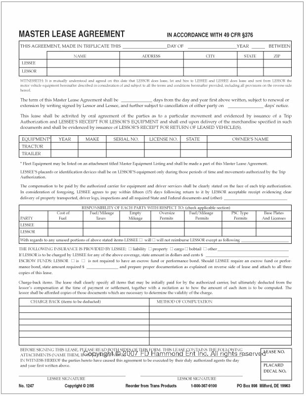 Master Lease Agreement – No. 1247