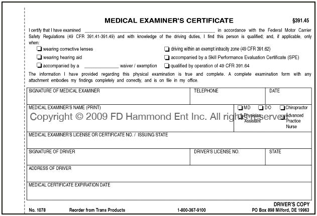 Similiar FMCSA Medical Examiners Certificate Keywords