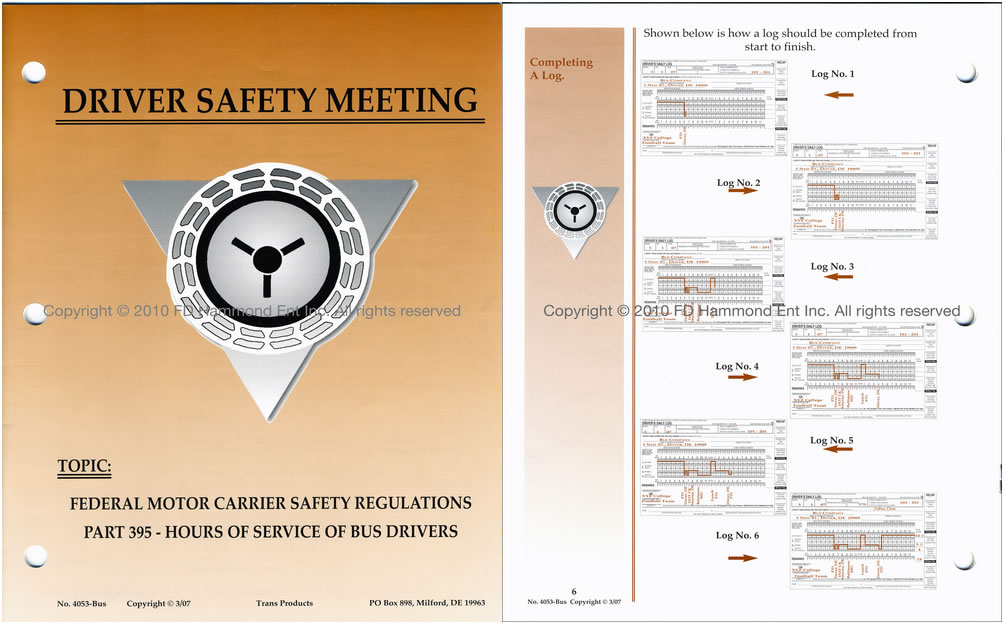 Driver safety meeting system no 4053 bus hours of for Federal motor carrier safety regulations book