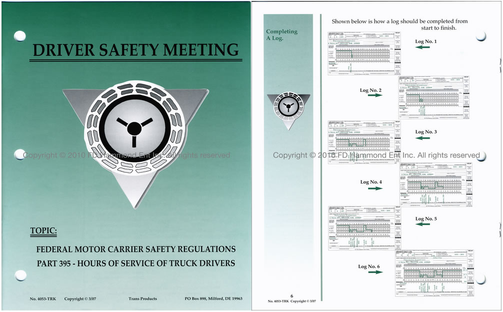 Driver safety meeting system no 4053 trk hours of service truck