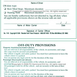 Off-duty Authorization Card