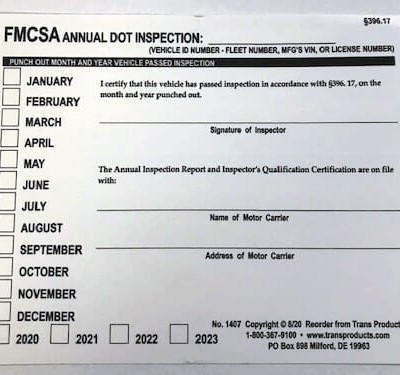 Punch Out Annual Inspection Report Decal - No. 1407