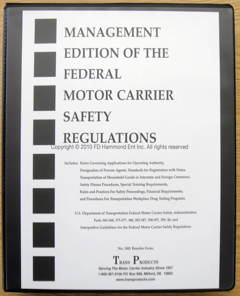 Management Edition Of The Motor Carrier Safety Regulations No 1001